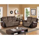 New Classic Callahan Traditional Reclining Sofa with Two Tone Leather and Fabric Cover