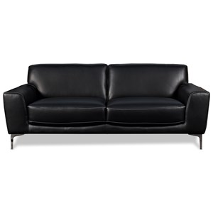 Contemporary Leather Sofa with Metal Legs