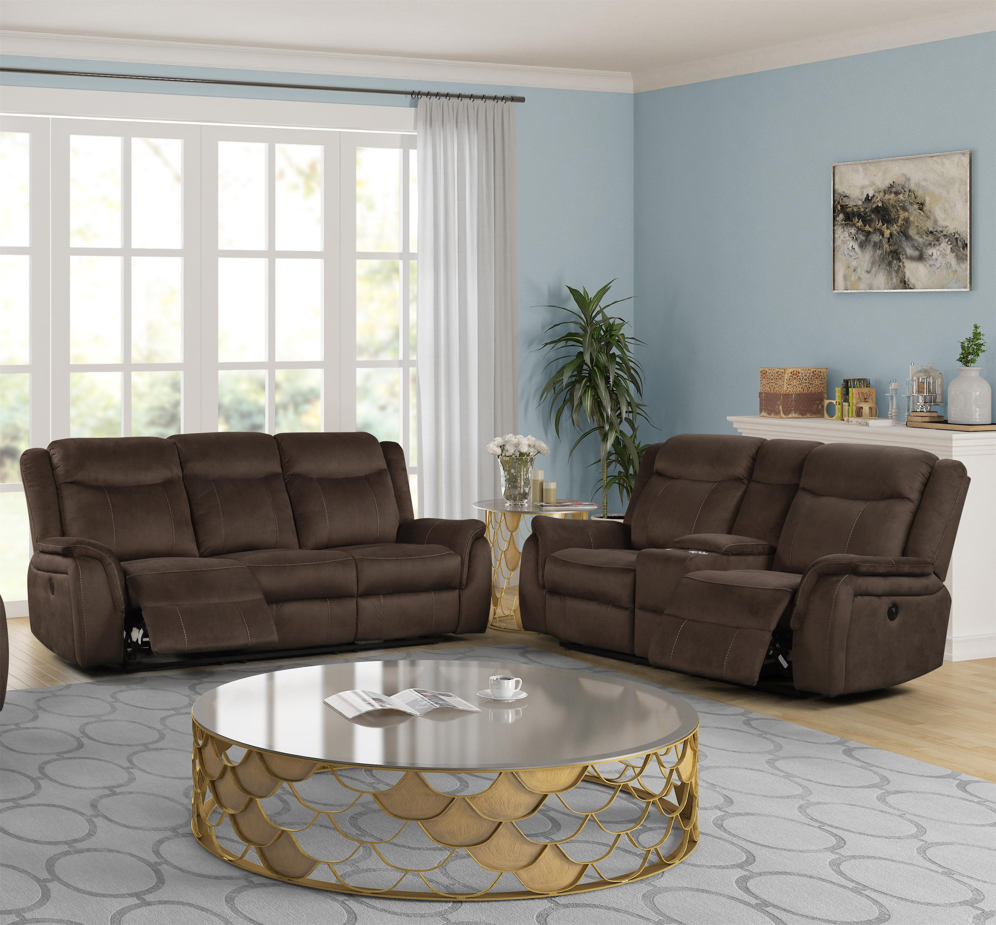 New Classic Cavett Cocoa U9525 30 25 Reclining Sofa Loveseat With Console Living Room Group Sam Levitz Furniture Reclining Living Room Groups