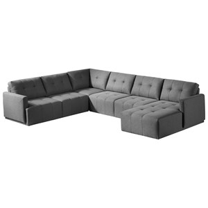 Contemporary Sectional Sofa with Chaise and Button Tufting