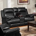 New Classic Cortez Casual Glider Loveseat with Console and Cup Holders - Image Shown May Not Represent Exact Features Indicated
