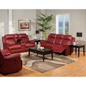 New Classic Cortez Casual Power Glider Loveseat with Console and Cup Holders