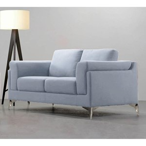 Contemporary Loveseat with Exposed Metal Legs
