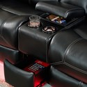 New Classic Flynn Contemporary Reclining Loveseat with Storage Console and Lighted Cupholders - Storage Areas and Lighted Cupholders Shown