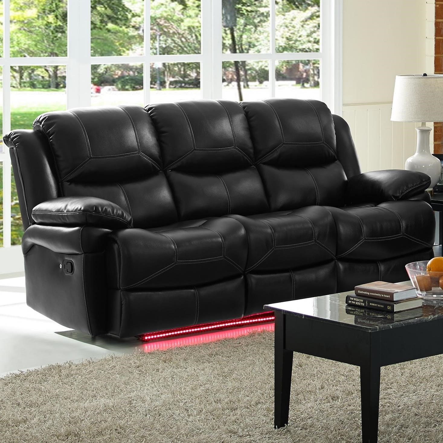 New Classic Flynn Contemporary Reclining Power Sofa with Pillow