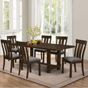 New Classic Frisco 7 Piece Dining Table Set - Item Number: D2550-10+6x20