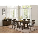 New Classic Frisco 7 Piece Trestle Dining Table with Slat Back Side Chairs