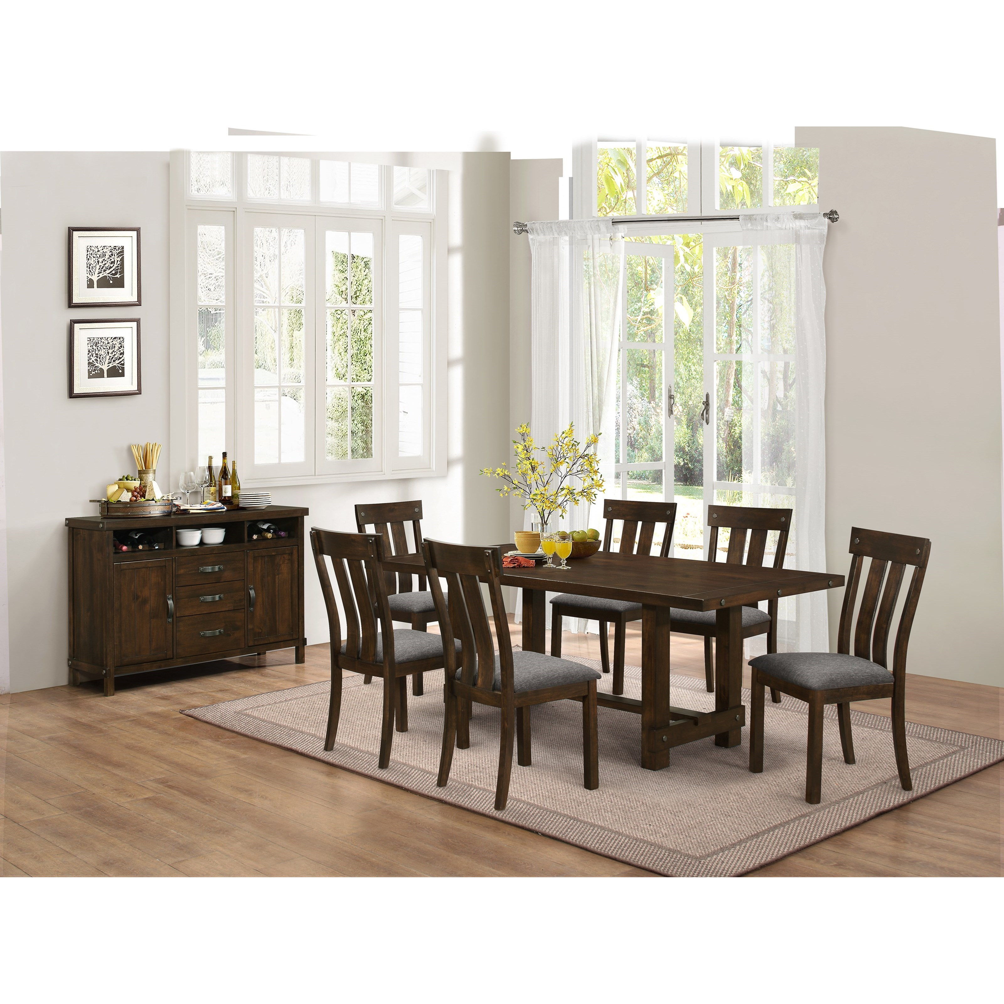 New Classic Frisco D2550 10 Trestle Dining Table With Metal Accents Del Sol Furniture Dining