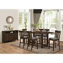 New Classic Frisco 7 Piece Trestle Counter Table with Linen-like Upholstered Counter Chairs
