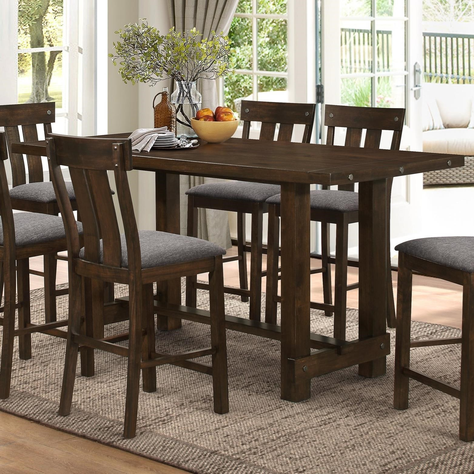 New Classic Frisco D2550 12 Trestle Counter Table With Metal Accents Del Sol Furniture Pub Table