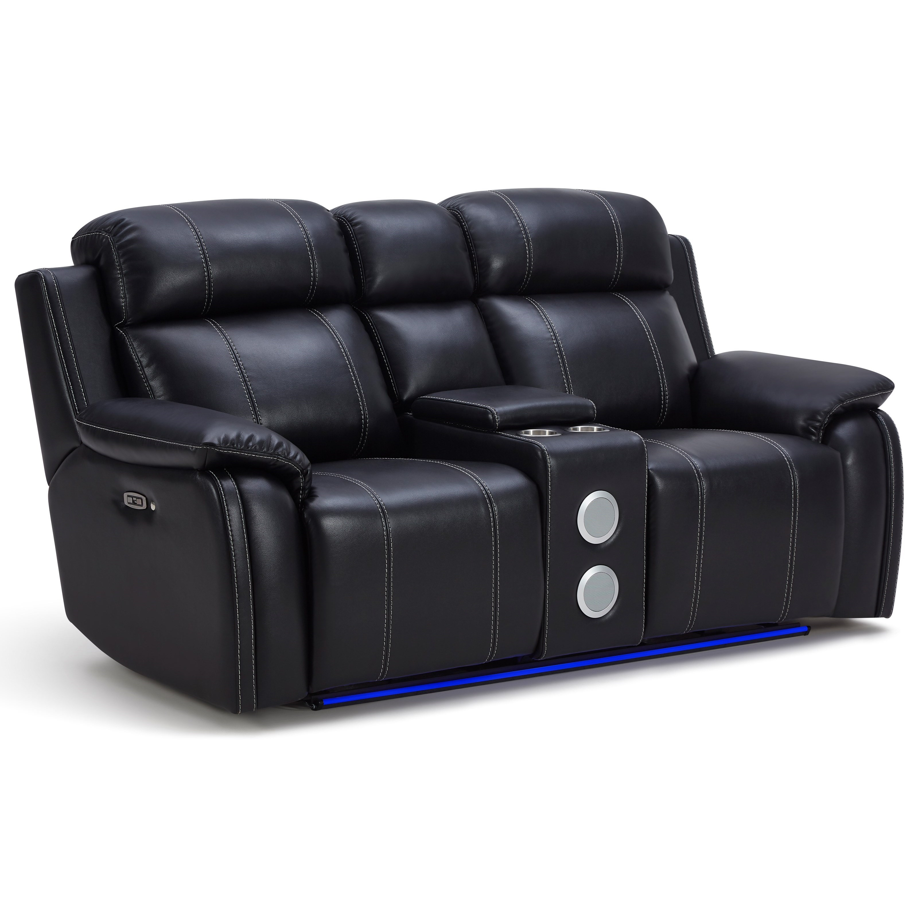 New Classic Fusion Reclining Console Loveseat With Speaker And Cup Holders Wilcox Furniture Reclining Loveseats