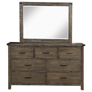 Rustic Dresser and Mirror Set with Felt-Lined Top Drawers