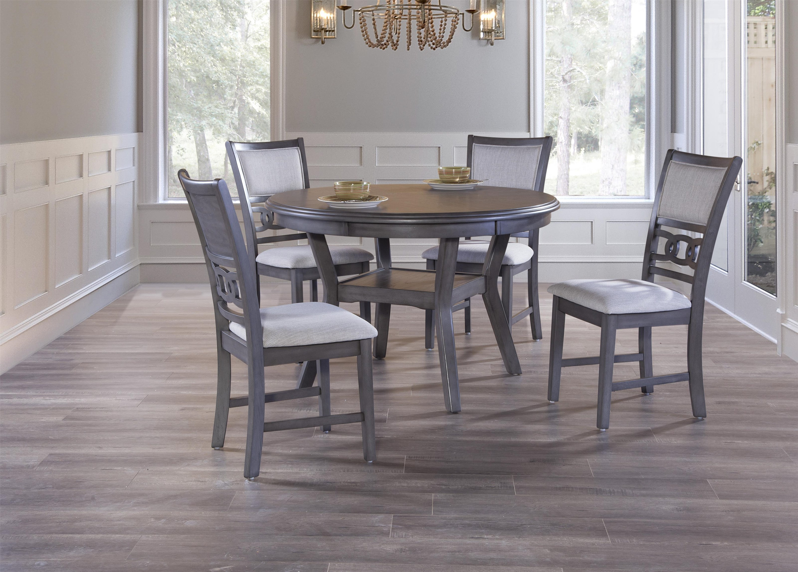 Gray Round Dining Table & 4 Chairs