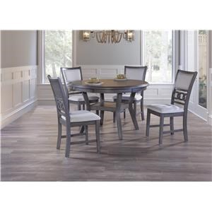 New Classic Gia Gray Round Dining Table & 4 Chairs