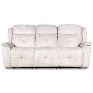 Transitional Dual Power Reclining Sofa with USB Ports