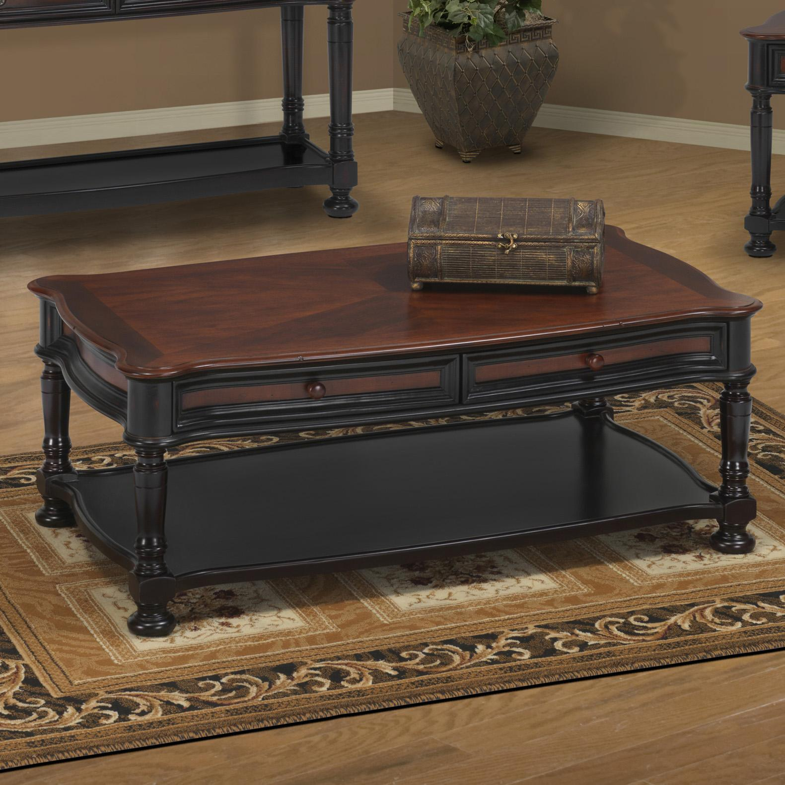 new classic jamaica two tone cocktail table with 2 drawers and