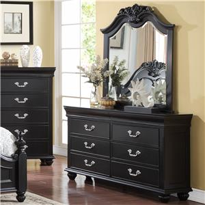 New Classic Jaquelyn Dresser & Mirror Set