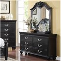 New Classic Jaquelyn Arched Top Dresser Mirror with Carved Accents