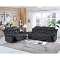 New Classic Jemma Casual Dual Recliner Sofa with Window Pane Tailoring