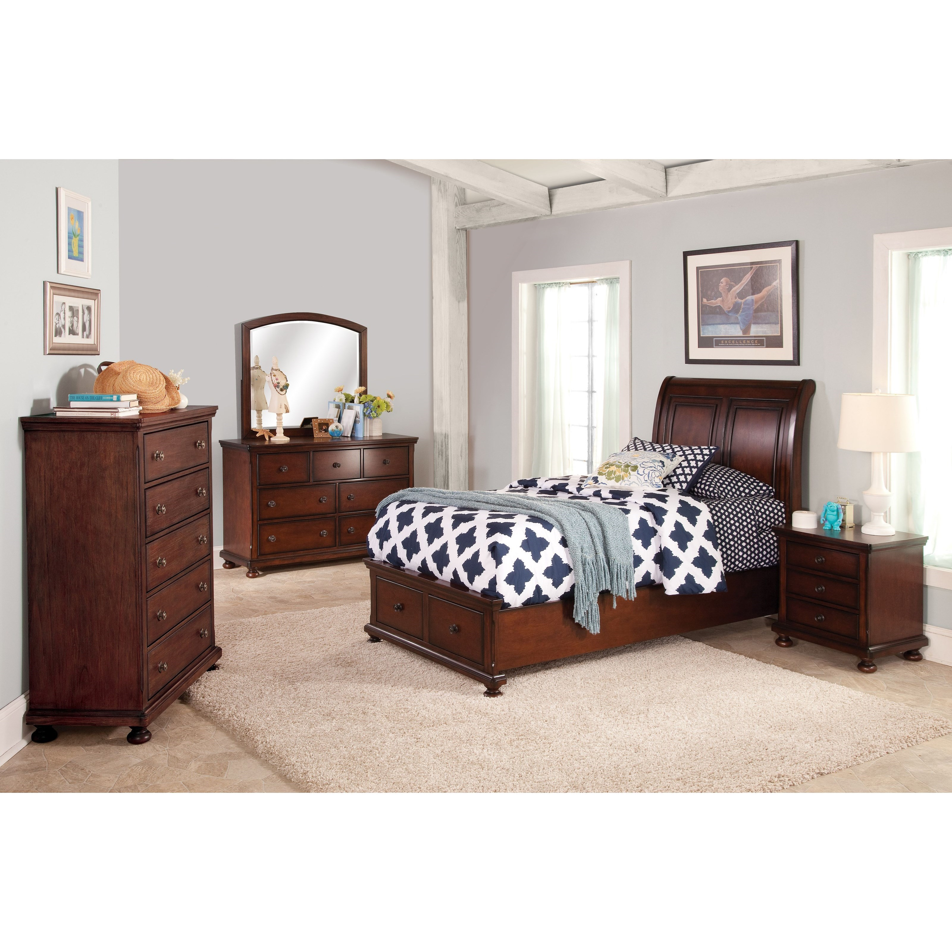 New Classic Jesse Full Low Profile Storage Bed With Sleigh