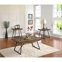 New Classic Keystone Chairside Table with Slate Black Iron Base