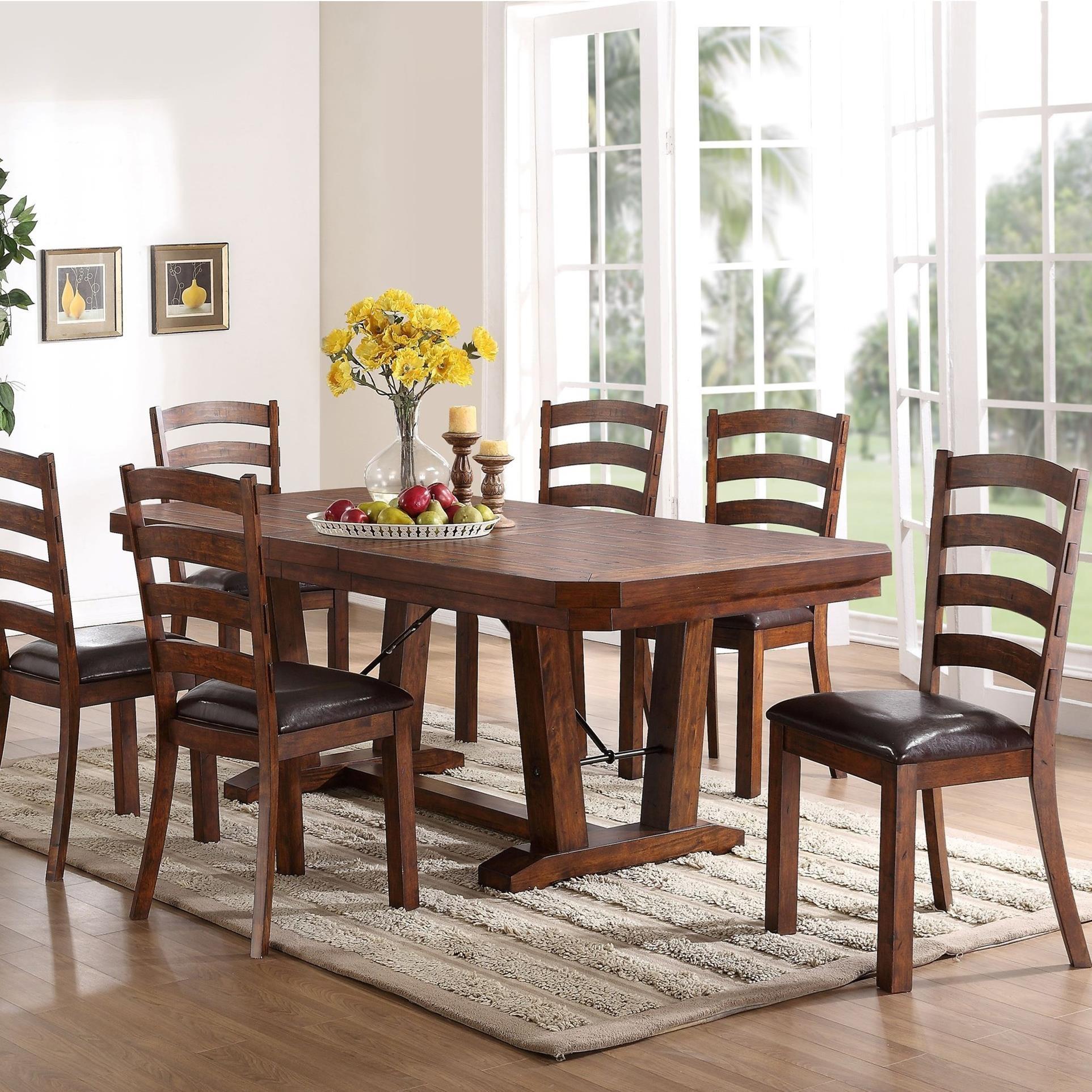 New Classic Lanesboro 7 Piece Dining Table Set - Item Number: D0376-10+10B+6x20