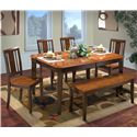 New Classic Latitudes 6 Piece Dining Set - Item Number: 40-150-11T+4x21T+25T