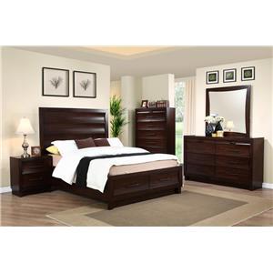 New Classic Lazaro Queen Storage Bed, Dresser, Mirror & Nightst