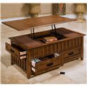 New Classic Logan Lift-Top Cocktail Table with Four Drawers - Top Lifts Open to Storage Compartment