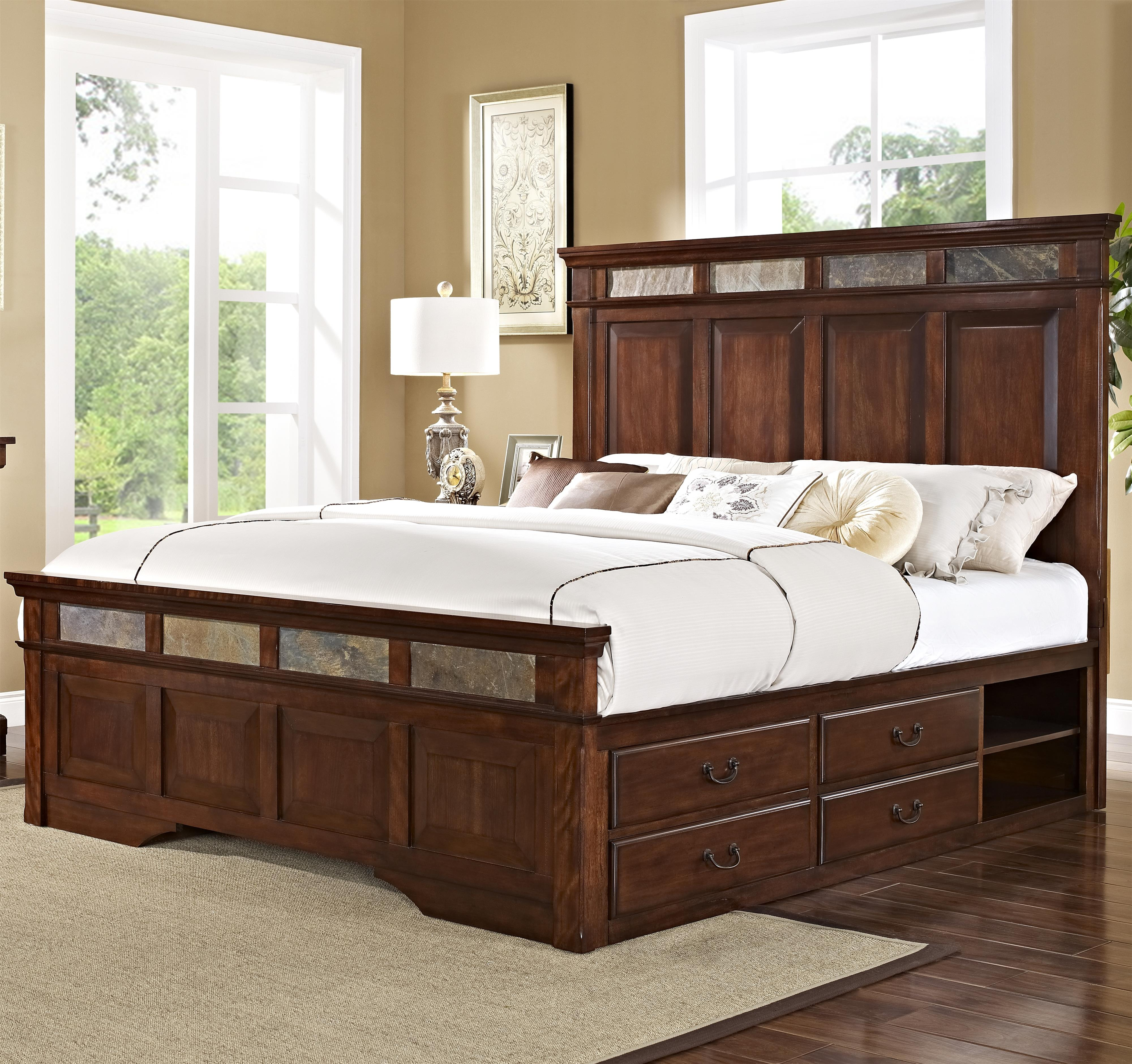 New Classic Madera  Queen Bed with Storage - Item Number: 00-455-310+320+337+338