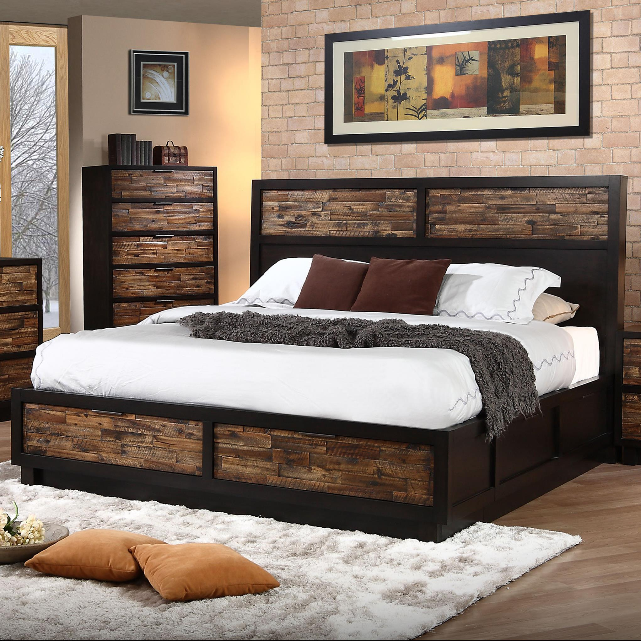 new classic makeeda queen low profile bed with footboard storage knight furniture mattress. Black Bedroom Furniture Sets. Home Design Ideas