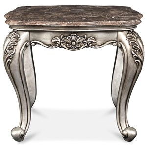 Glam End Table with Marble Top