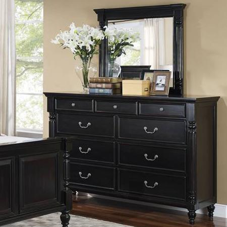 New Classic Martinique Bedroom Dresser and Mirror - Item Number: 00-222-050+060