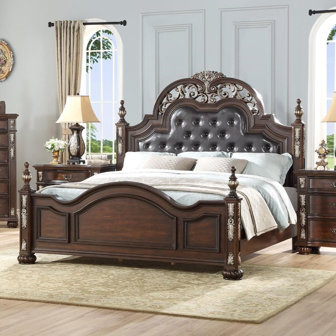 Maximus Cal King Poster Bed with Uph Headboard by New Classic at Beck's Furniture