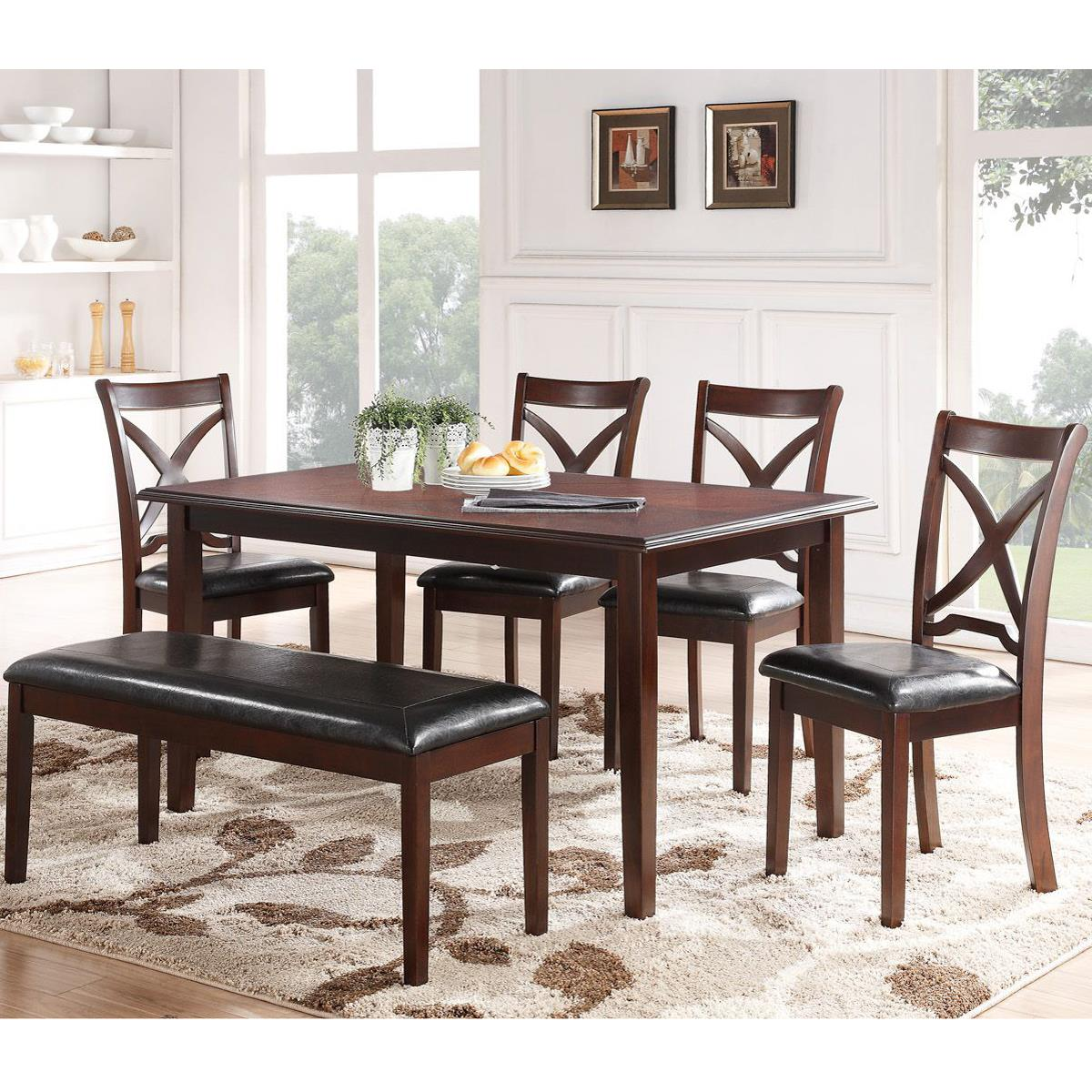 6PC Dining Table and Chair set with a Bench