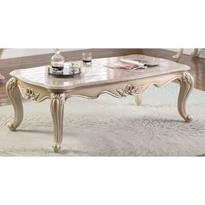 Traditional Cocktail Table with Marble Top
