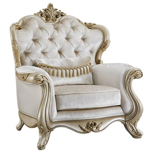 Traditional Chair with Button-Tufted Back