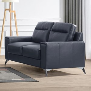 Contemporary Loveseat with Metal Legs