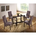 New Classic Natasha 5 Piece Glass Top Dining Table Set - Item Number: D3972-10GT+10GB+4x20CH