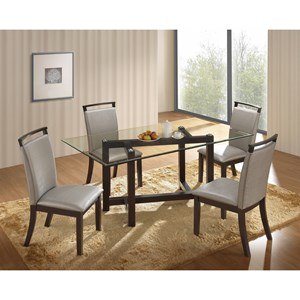 New Classic Natasha 5 Piece Glass Top Dining Table Set