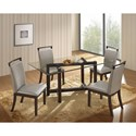New Classic Natasha 5 Piece Glass Top Dining Table Set - Item Number: D3972-10GT+10GB+4x21GR