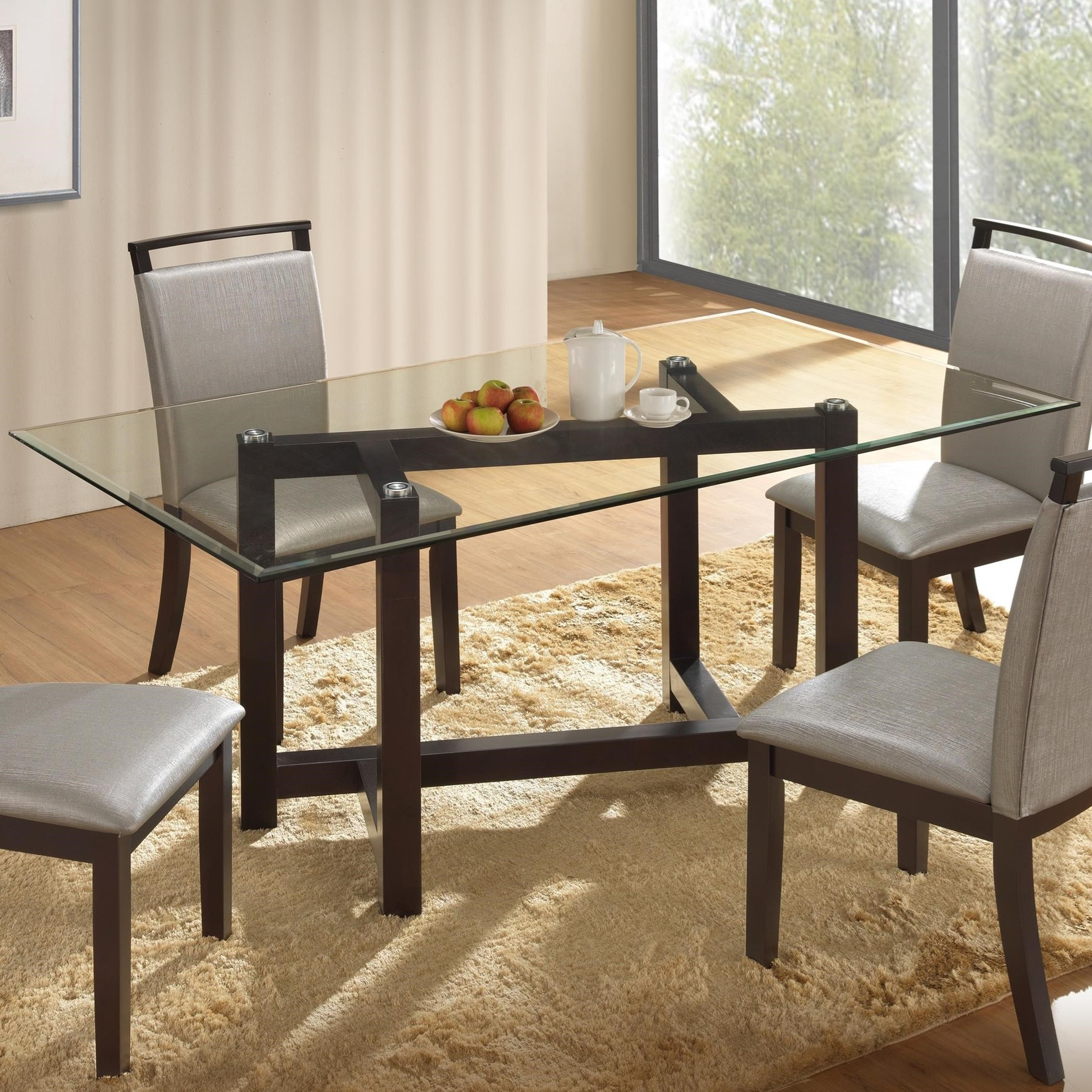 New Classic Natasha Glass Top Dining Table - Item Number: D3972-10GT+10GB