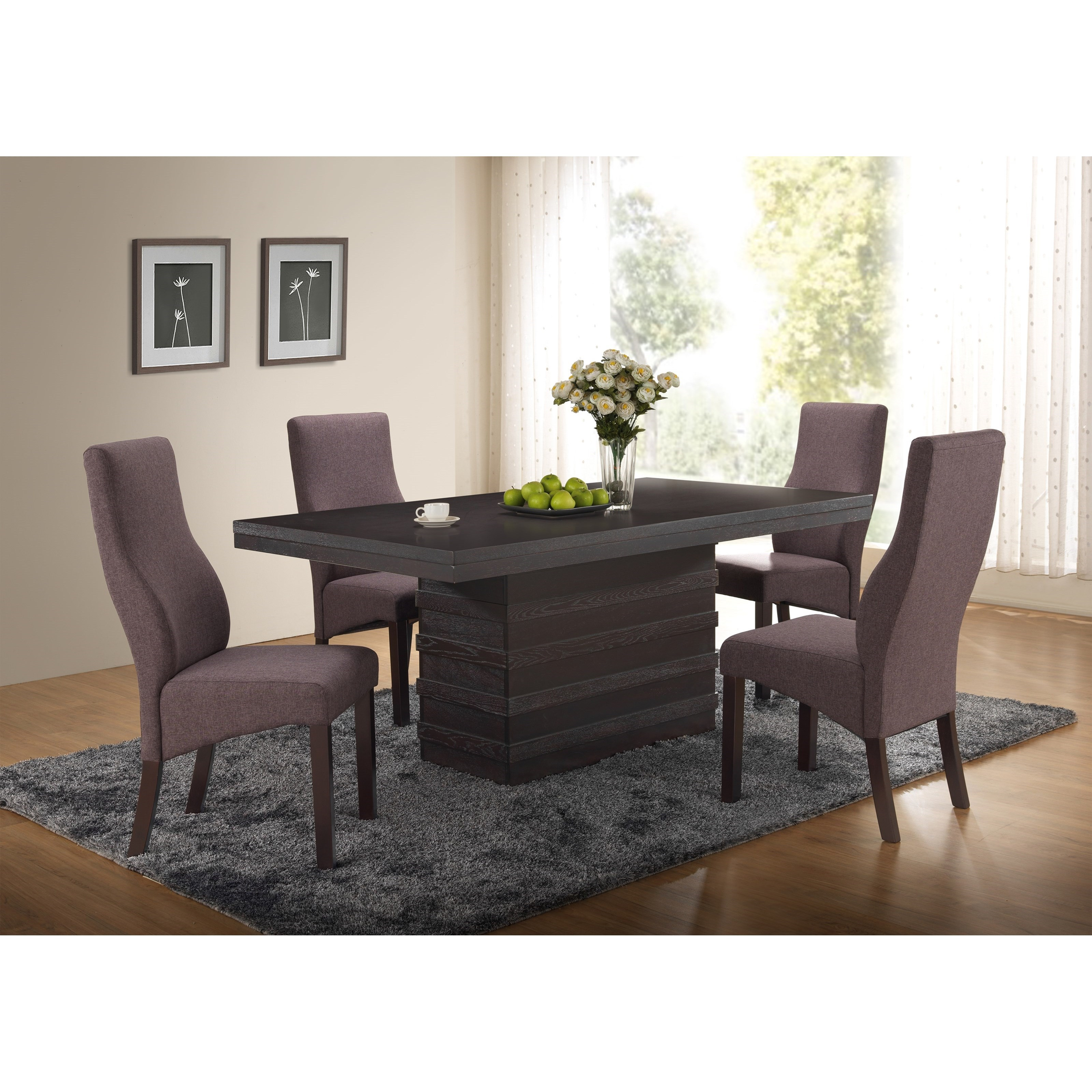 New Classic Natasha 5 Piece Boris Dining Table Set  - Item Number: D3972-10W+4x20CH