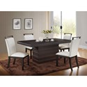 New Classic Natasha 5 Piece Boris Dining Table Set  - Item Number: D3972-10W+4x21WH