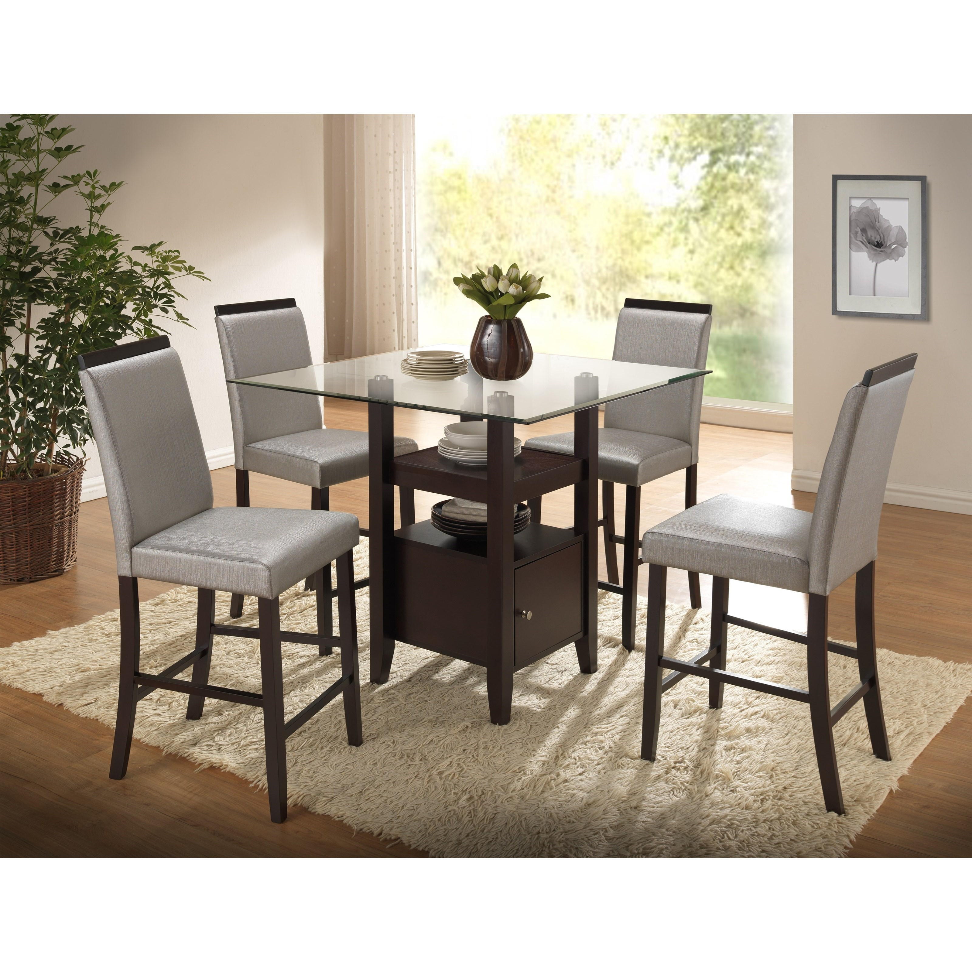 New Classic Natasha 5 Piece Counter Table Set - Item Number: D3972-12GT+12GB+4x23GR