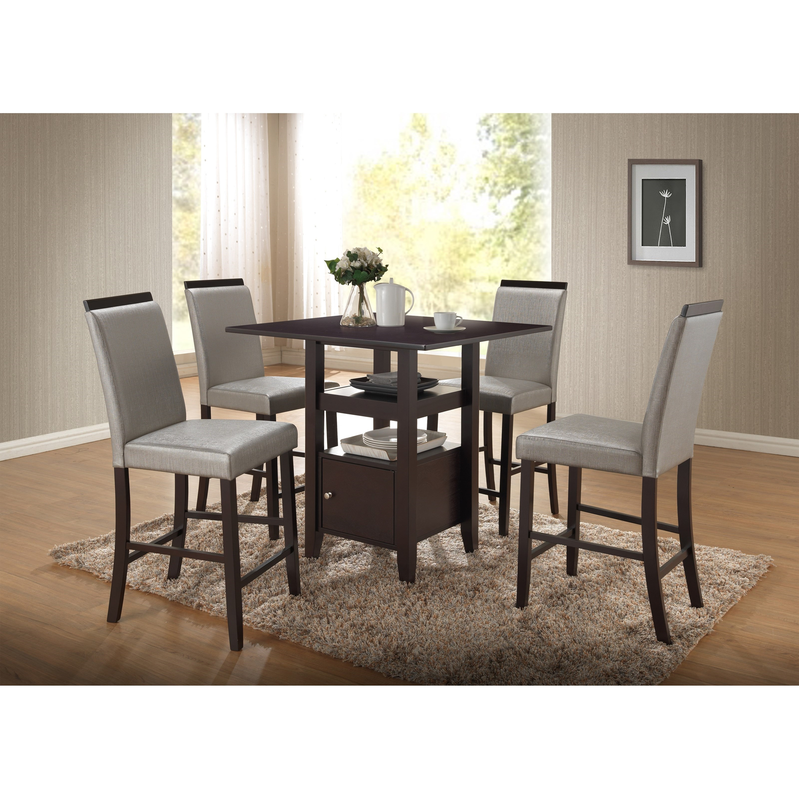 New Classic Natasha 5 Piece Wood Counter Table Set - Item Number: D3972-12W+4x23GR