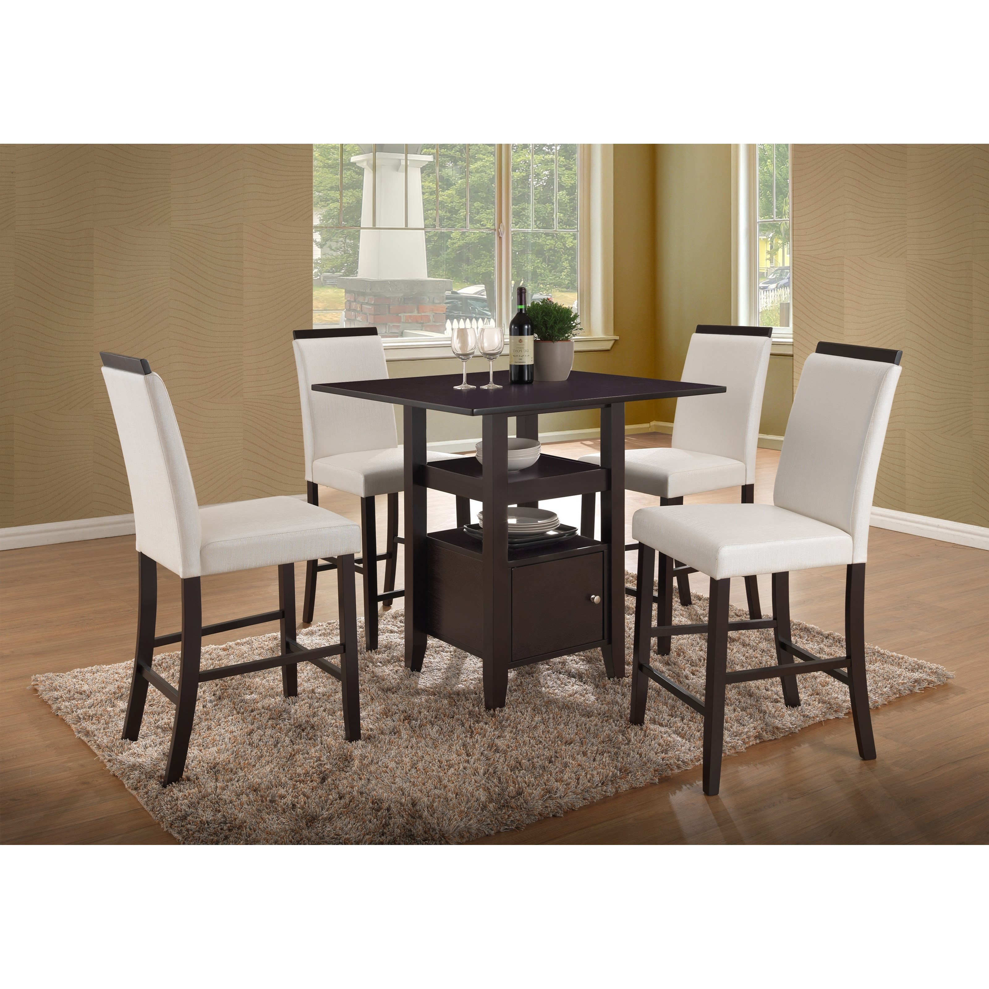 New Classic Natasha 5 Piece Wood Counter Table Set - Item Number: D3972-12W+4x23WH