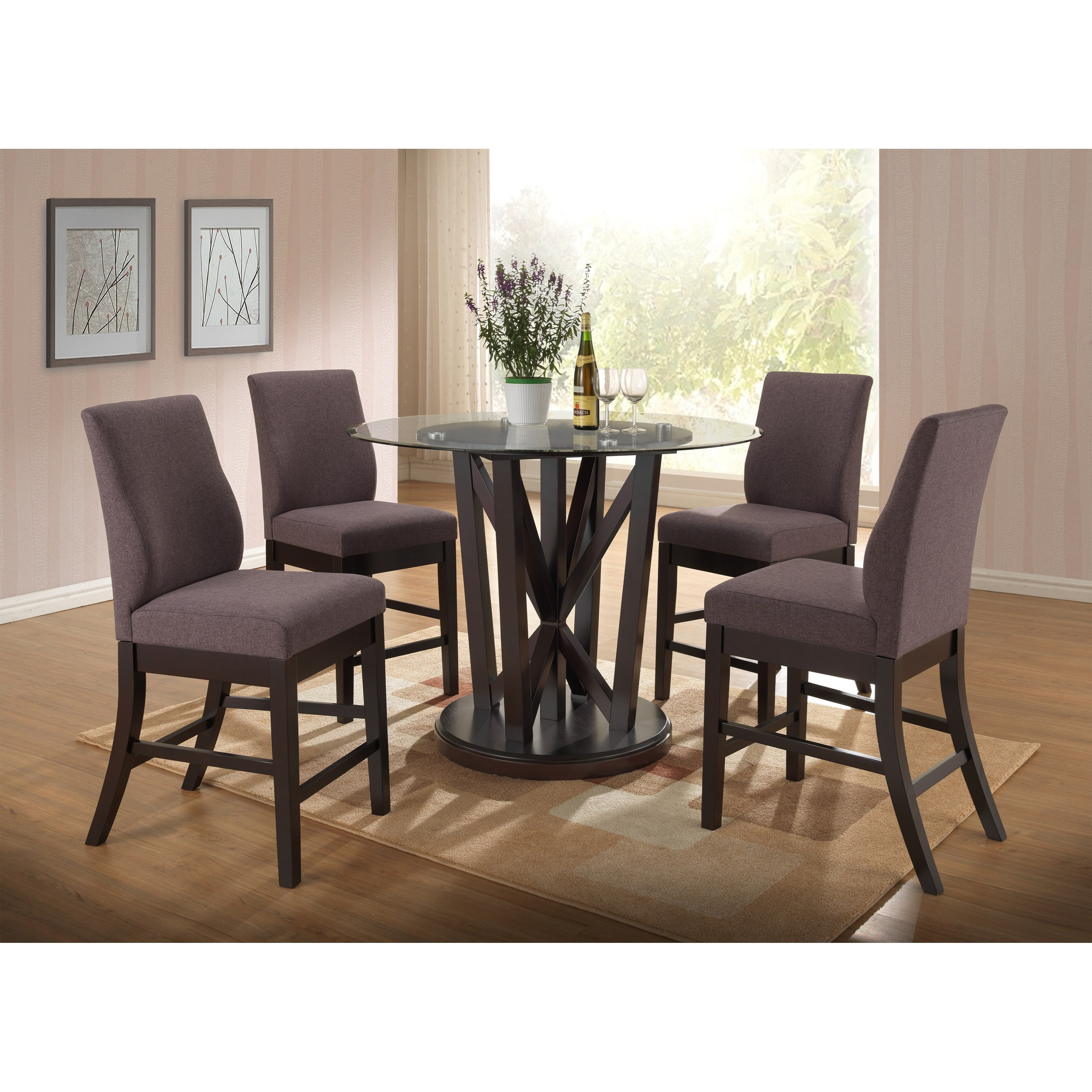 New Classic Natasha 5 Piece Round Counter Table Set - Item Number: D3972-13GT+13GB+4x22CH