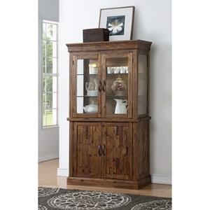 Curio Cabinet with Wood Door Base