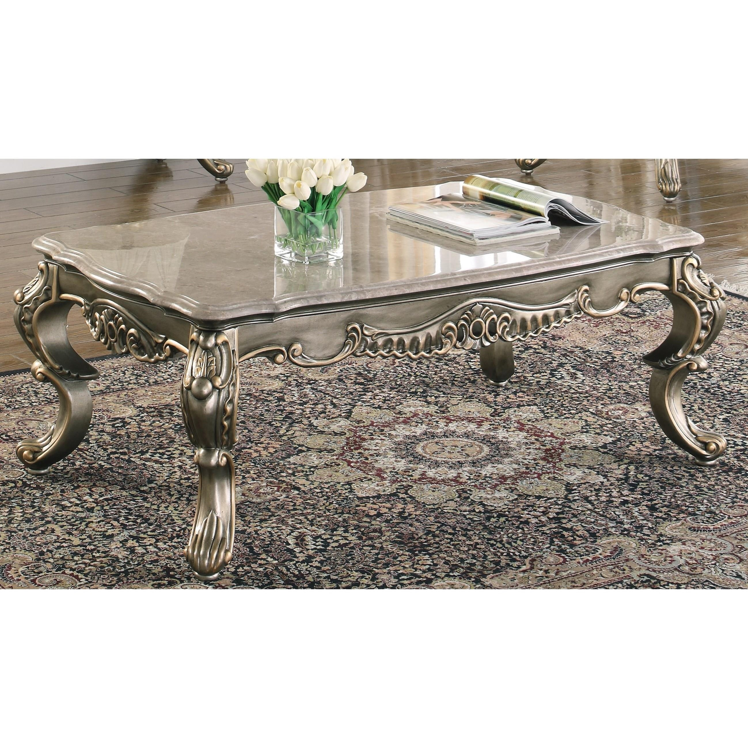 New Classic Ophelia Traditional European Style Cocktail Table With Stone Top A1 Furniture Mattress Cocktail Coffee Tables